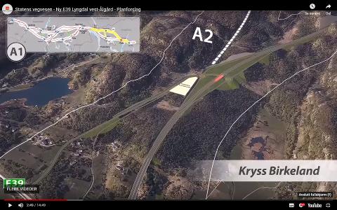 INGEN TILFØRSELSVEI: Forslaget til Statens vegvesen, med kryss på Birkeland, inneholder ikke tilførselsvei for dem som kommer fra Gyalnd og Sirdal. Dette mener rådmannen ikke er godt nok.