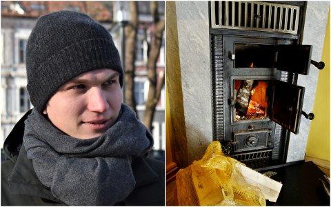 FRYKTER FORBUD: Nicolai Øyen Langfeldt frykter både at et forbud mot fyring i gamle ildsteder vil slå sosialt skeivt ut og at strømprisene på kalde dager kan bli høyere.
