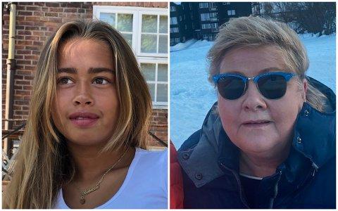 REAGERER PÅ STATSMINISTERENS FEIRING: 16 år gamle Frida Bruusgaard er ikke begeistret for måten statsminister Erna Solberg feiret 60-årsdag.