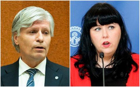 UENIGE: Der Ola Elvestuen kritiserer byrådet for for langsom utbetaling av korona-støtte, mener næringsbyråd Victoria Marie Evensen at Elvestuen mangler forståelse for det han prater om.
