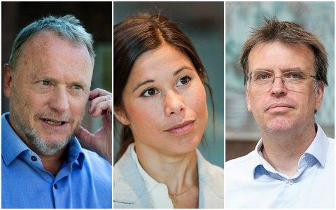 """MENER RAYMOND MÅ FJERNE LAN UMIDDELBART: FNBs Bjørn Revil (T.H.) mener Raymond Johansen ikke kan la Lan Marie Berg bli sittende midlertid i et """"forretningsministerium""""."""