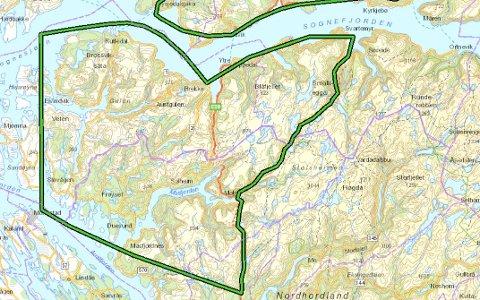 Dette er området NVE ser for seg vindkraftutbygging i Nordhordland og Gulen.