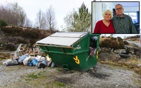 OVERFYLT: Ekteparet Esther Flagtvedt Lein og Helge Lein har fått nok av forsøpling og ulovleg kasting av avfall ved hytta deira.