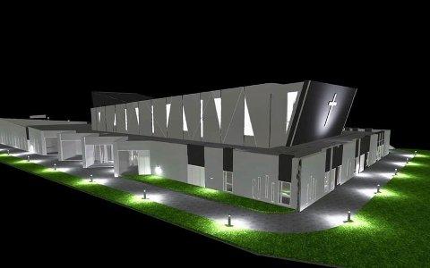 Den nye kirka er på hele 3.600 kvadratmeter og har vært jobbet på i flere år. Nå er den endelig under oppføring.