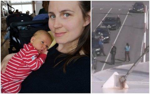 Charlotte og Lovise på seks måneder fikk ikke selskap av resten av familien. Far Aleksander og Olivia (3) satt igjen på fergekaia i bilen som står alene til høyre.