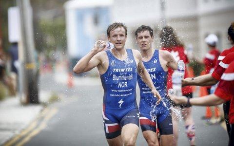 Triatlet Kristian Blummenfelt ble tatt igjen en kilometer før mål under søndagens løp.