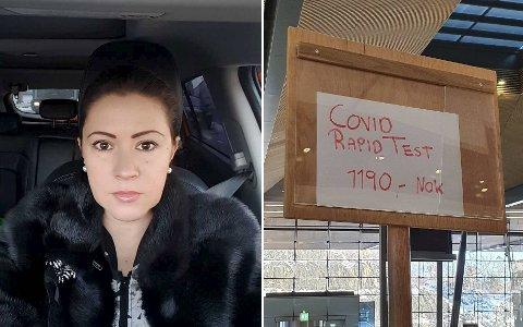 Svetlana Zagitova fra Norheimsund fikk hakeslepp da hun så hva det kostet å ta en hurtigtest på Flesland flyplass tirsdag ettermiddag.