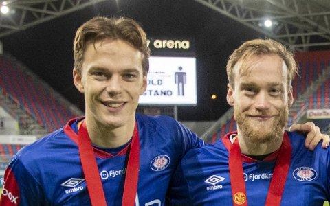 Felix Horn Myhre (22) og Bård Finne (t.h.) tok seriebronse med Vålerenga i fjor.
