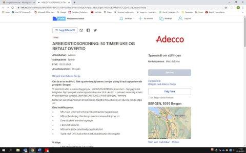 Denne annonsen ble trukket da Adecco fikk tips om at den var i strid med loven.
