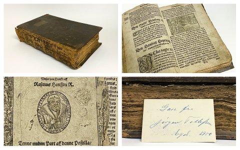 GÅVE: Postillen frå 1612 blei gitt som gåve til Dalane Folkemuseum av Jørgen Tollefsen i 1950.