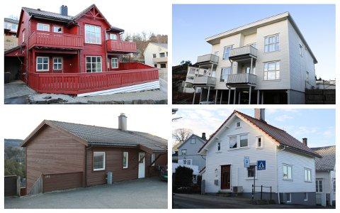 EIERSKIFTE: Holan 1A (oppe til venstre - del av bygning) er solgt for 1.550.000 kroner. Leiligheten Reinsdyrveien 4 (oppe til høyre) gikk for 1.820.000 kroner. Reinsdyrveien 29 B (nede til venstre - del av bygning) er solgt for 1.850.000 kroner. For Aarstadgaten 27 måtte de nye eierne ut med 2.900.000 kroner.