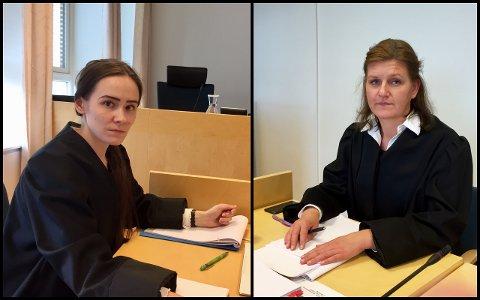 Advokatfullmektig Agnieszka Bakanova (til venstre) representerer barnebarna. Advokat Nina Andresen representerer naboen.