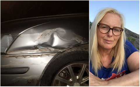 PÅKJØRT: Bilen til Margrethe Olstad fikk seg en trøkk da den onsdag kveld ble påkjørt i rundkjøringen ved Shell på Brakerøya.
