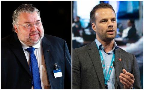 STORTINGSKOLLEGER: Morten Wold (t.v.) og Jon Helgheim sitter sammen på Stortinget. Nå utfordrer Wold Helgheim om førsteplassen på nominasjonslista i Buskerud for 2021-valget.