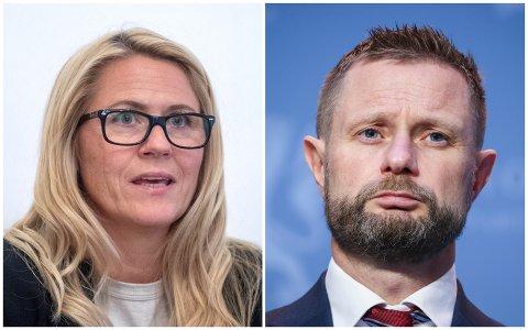I MØTER: Monica Myrvold Berg og Bent Høie om nye koronatiltak for drammensregionen.
