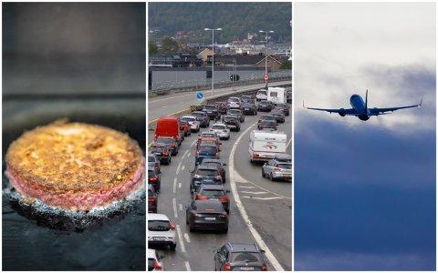 MANGE VIL IKKE DROPPE FLY OG BIL: Men 48 prosent av drammensere er villige til å spise færre måltider med rødt kjøtt. Burgeren på bildet er lagd av planter.