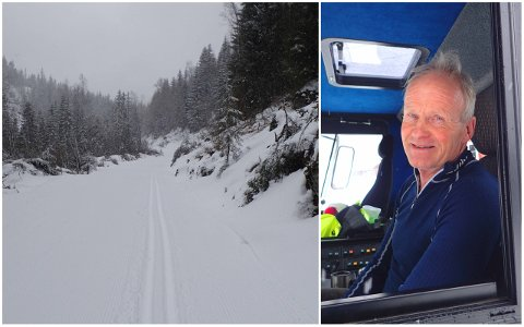 Anders Haverstad (t.h.) har kjørt skiløyper i Lier kommune siden midten av november, og på tirsdag tok han turen over fra Kanada til Eiksetra.