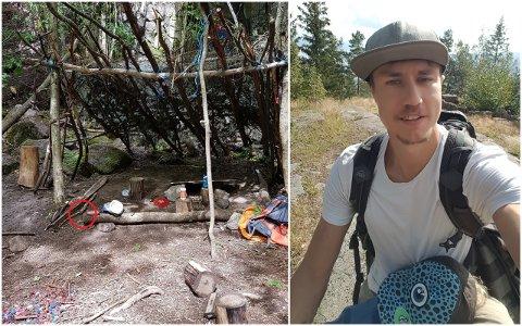 GUFFENT FUNN: Marius Jørgensen ble sint da han så en sprøyte ved gapahuken han og sønnen spiste lunsj i søndag.