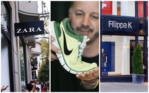 MERKER: Der Zara og Nike er kjemper på verdensbasis, er motekjeden Filippa K en regional storhet. Alle tre har imidlertid til felles at de ikke har noen egne filialer i Drammen.