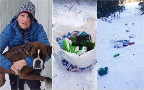 SØPPEL: Hilde Christin Jernberg (t.v.) og bokseren Grappa fikk seg en overraskelse på tur ved Drammen skisenter søndag. Bildene viser det som møtte dem - og som Jernberg selv plukket opp.