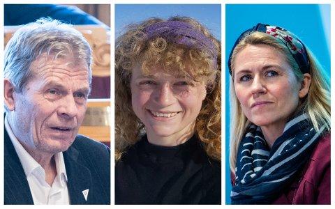 UENIGE: Arne Nævra (SV), Margit Fausko (MDG) og Monica Myrvold Berg (Ap) er uenige om hvorvidt det er mulig for Drammen å få belønningsmidler fra staten uten bompenger.