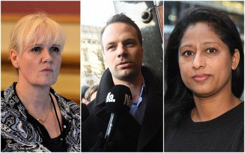 Kristin Surlien i drammen Høyre, Frp-politiker Jon Helgheim og Nasim Rizmi, nestleder i Buskerud Innvandrerråd.