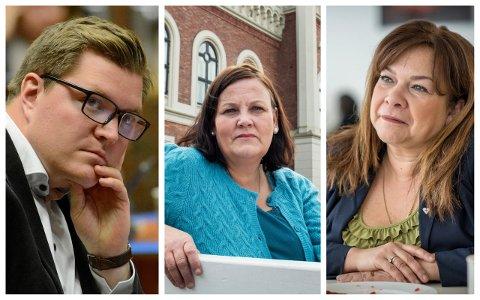BEKYMRET: Eivind Knudsen (Ap), Tanja Vatnås (Frp) og Ana Maria Silva Harper (H) er helsepolitikere i Drammen. De må finne ut hvordan Drammen kan løse fastlegemangelen i byen.