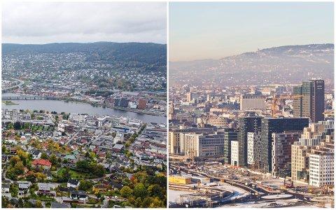 SKJEVFORDELING: Både Drammen (t.v) og Oslo har hatt høyt smittetrykk over tid og levd med strenge tiltak. Likevel fikk kun én av kommunene utdelt flere vaksiner.