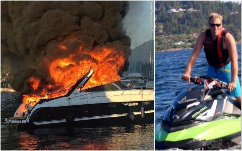 FULL FYR: Andreas Moflag bidro med å slepe båten ut mot fjorden og med å slukke den voldsomme brannen i båten.