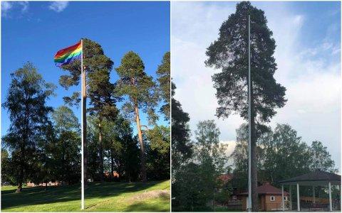 REVET NED: Pride-flagget fikk stå i omtrent en dag før noen rev det ned og stjal det.