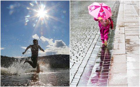 FORBEREDT: Det kan være lurt å ha en paraply og ekstra skift på lur når du skal ut i Drammen de neste dagene, råder statsmeteorolog Hanne Beate Skattør