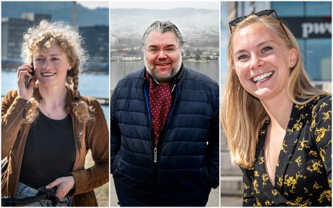 IKKE OVERRASKET: Førstekandidatene til de tre minst populære partiene er ikke overrasket over meningsmålingen. Fra venstre: Margit Fausko, Morten Wold og Linn-Elise Mehlen
