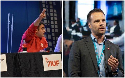 BEKLAGET: Rutkay Sabri (t.v.) måtte beklage til Jon Helgheim etter skoledebatten på Åssiden mandag.