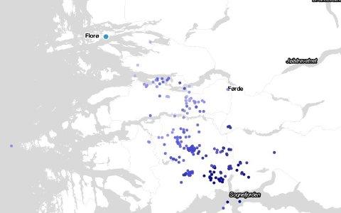 Kartet frå Norsk Meteorologisk Institutt viser tal lynnedslag siste time.
