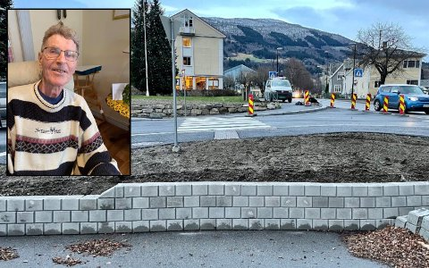 TRAGISK: Jan Erik Brekke (82) var lommekjend og spaserte rett utfor muren på biletet, der gangvegen før gjekk rett fram. Familien meiner området burde ha vore betre sikra.