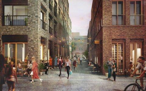 """Den nye """"matgaten"""" sett fra inngangen i Olaf M. Holwechs gate. (Illustrasjon: MAD Arkitekter)"""