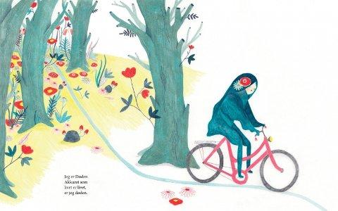 I Larsens bok er døden en mørkhåret jente på rosa sykkel, som triller gjennom et landskap der noe må visne hen og dø for at nytt liv skal kunne spire.
