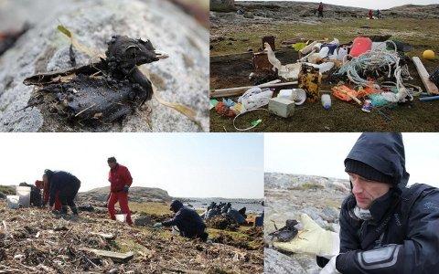 SØPPEL: Søppelet flyter på Akerøya, og Eivind Børresen ved Skjærgårdstjenesten hos Hvaler kommune viser frem noe av det som har blitt ryddet opp. – Det har blitt atskillig flere frivillige til å plukke søppel. I år har det vært rundt 400 som har deltatt i oppryddingen, sier han.