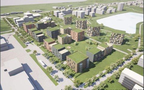 Her er en modell som viser hvordan det kan bli  rundt Sorgenfridammen. Legg merke til at bebyggelsen i sørhellinga ned mot dammen har fått god høyde.