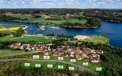 Nye Ringstadåsen: De 11 tomtene blir liggende bak dagens boligfelt med adresse Ringstadåsen og Nylende skole. Nede ved vannet ses fotballbanen til Nylende IF.