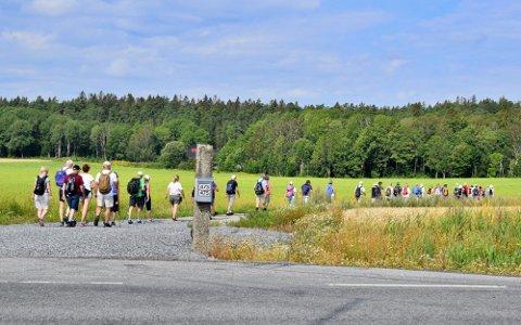 VANDRING: I 2019 vandret en hel gjeng fra Skjeberg kirke til Borgarsyssel under alliansevandringen i regi av Olavsdagene. Foto: Katrine Hammer/SA