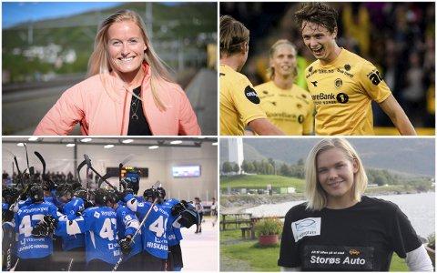 PRESTASJONER: Flere lokale utøvere har utmerket seg i året som gikk. Marit Røsberg Jacobsen, Håkon Evjen, spillerne på Arctic Eagles og Ingeborg Vassbakk Løyning har alle imponert innen sine idretter.