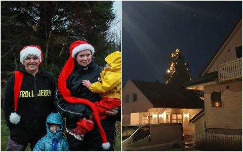 Vibecke Alette Krüger (t.v.) og Janne Gyland har pyntet dette juletreet som kan ses fra lang avstand.