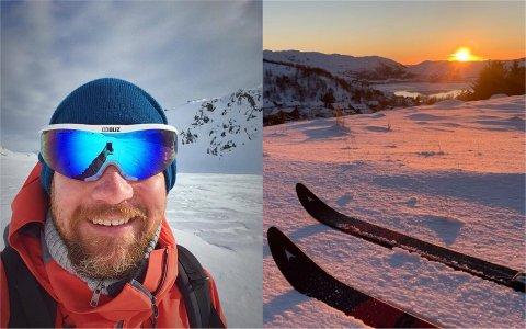 Asgeir Garvik nyter gjerne en skitur utenfor oppmerkede løyper. Til venstre er han ved Rolighetsvatnet i Madlandsheiå ved en tidligere anledning. Bildet til høyre er tatt denne uken i Limaheiå.