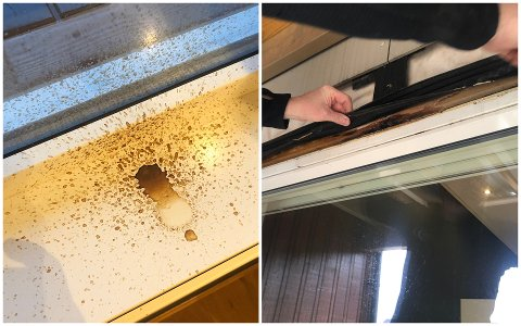 Slik ser det ut inne i vinduskarmen og på utsiden hos Jørg Magne Tengesdal i Fiolveien.
