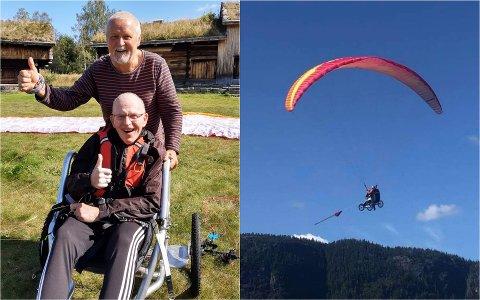 Bjørn Øfstaas var ikke vanskelig å be da Pitter Olufsen (bak) foreslo paragliding i sommer.