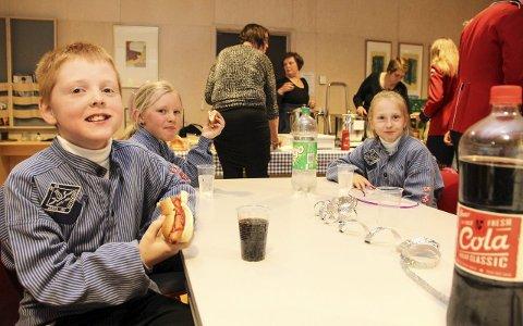 VEL BLÅST: Martin Rehnstrøm (9), Frida Nielsen Fleischer (8) og Silje Rehnstrøm (9) etter endt konsert.