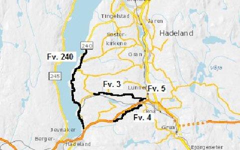 RUSTES OPP: Fylkesvegene 3, 4, 5 og 240 på Hadeland får en ansiktsløftning i sommer.
