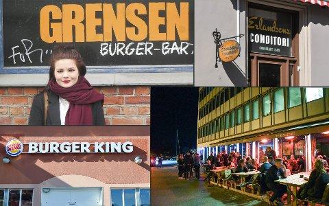 HAR BLITT KONTROLLERT: Emilie Langbråthen ved Grensen burgerbar er blant dem som har hatt tilsyn fra smilefjeskontrollen i år. Det samme gjelder blant annet Erlandsens conditori og café, Burger King og Bryggerhuset.