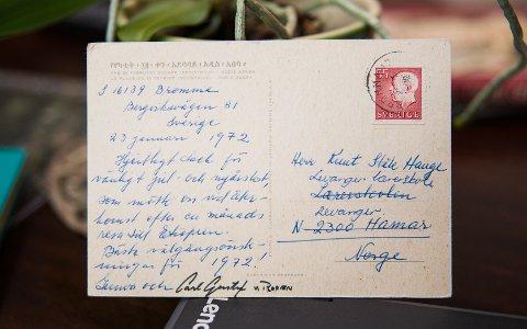 POSTKORT: Knut Ståle fikk et postkort fra selveste Carl Gustaf von Rosen og hans kone.